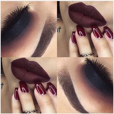 @lupe_mua we are feeling this Fall inspired look!!! So ready for fall!!! The dark matter eyeshadow stack paired with a pretty burgundy lip Bomb!!! #meltcosmetics #meltdarkmatter