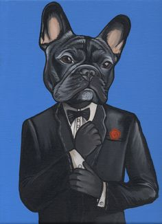 French Bulldog , Frenchie , Suit , Cool , Jeroen Teunen , Teunen , The Dog Painter , Pet Portrait