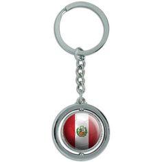 Peru With Seal Flag Soccer Ball Futbol Football Spinning Round Metal Key Chain Keychain Ring, Silver