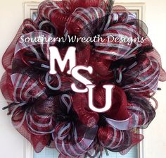 Mississippi State College Sports Mesh Wreath on Etsy, $75.00