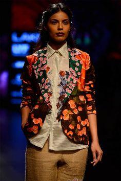 BC06 Womens Fashion Single Breasted Rose Flower Elegant Floral Print Jacket Coat