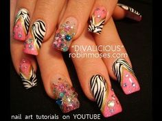 CAVIAR NAILS DIVALICIOUS BLING PINK BLACK WHITE ZEBRA PRINT:robin moses nail art design tutorial
