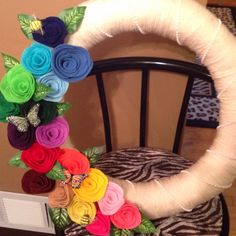 Felt rose spring wreath