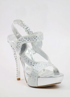 "Silver Prom shoes with 5"" heels and 1.25"" platform (Style 500-12)"