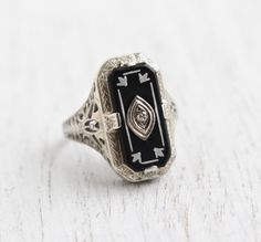 Antique 14K White Gold Black Onyx & Diamond Ring by MaejeanVintage