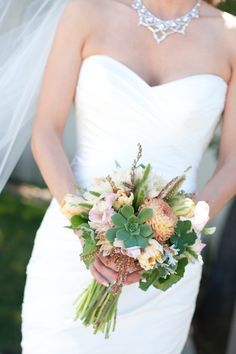 Bridal Bouquet With Dahlias Succulents and Dusty Miller | photography by http://juliemikos.com/