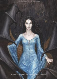 """Luthien before Morgoth by EKukanova.deviantart.com on @DeviantArt. """"...but Luthien was stripped of her disguise by the will of Morgoth, and he bent his gaze upon her. She was not daunted by his eyes; and she named her own name, and offered her service to sing before him, after the manner of a minstrel..."""""""