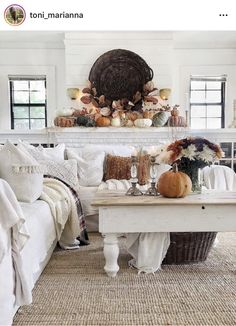 Fall Mantle Basics // Fall Mantle Inspiration – the dotted bow Country Decor, Farmhouse Decor, Ikea Sectional, Fall Wood Signs, Hygge Home, White Pumpkins, Home Decor Inspiration, Seasonal Decor, Diy Home Decor