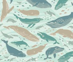 Whale Gathering Blue fabric by clemency_brown on Spoonflower - custom fabric