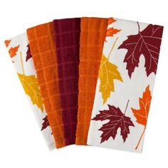 Assorted Leaf Print and Solid 5-Piece Cotton Terry Kitchen Towel Set - BedBathandBeyond.com