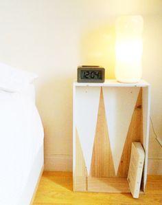 caisse en bois table de chevet idee decoration