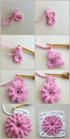 Crochet Poncho Crochet - Casaquinho de Crochê para bebê tamanho Love, Crochet - Casaquinho de Crochê para bebê tamanho Crochet Jewlery - Cap to mit Blattzöpfen und im tunesischen Stich hä. Crochet Flower Tutorial, Crochet Flower Patterns, Crochet Stitches Patterns, Crochet Designs, Crochet Flowers, Granny Square Crochet Pattern, Crochet Squares, Crochet Motif, Diy Crochet