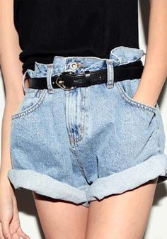 Loose Fit Denim Shorts- paperbag shorts! Soo 80's these were my FAVORITE to wear
