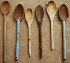 Old Painted Grungy Wooden Wood Spoons Primitive by redroosterbab, $29.99