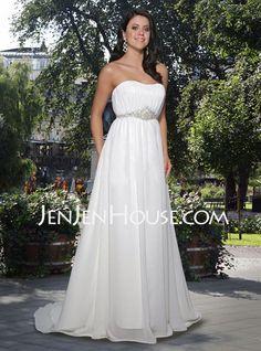 Line/Princess One-Shoulder Chapel Train Satin Tulle Wedding Dresses ...
