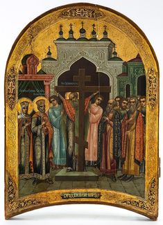 A RUSSIAN ICON OF THE EXALTATION OF THE CROSS, PAL - by Shapiro Auctions LLC