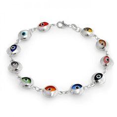 Multicolor Evil Eye Bracelet 925 Sterling Silver 7 Inch