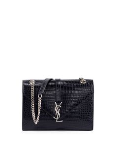 Monogram Medium Crocodile-Embossed Envelope Chain Shoulder Bag, Navy by Saint Laurent at Neiman Marcus.