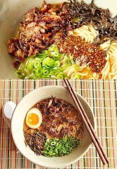Miso Ramen with Crispy Shredded Pork and Burnt Garlic Sesame Oil