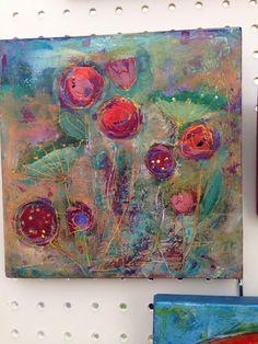 Fleurs, by Luanne Ripley Kreutzer. 8x8. Plaster and acrylic on board.