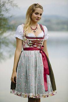 Dirndl Alpenfee Rosenmuster und transparenter Schürze 60cm  |  S♥