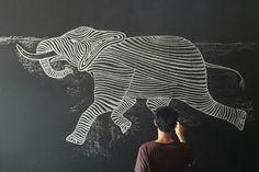 Zaky Arifin Ilustración con gis/tiza