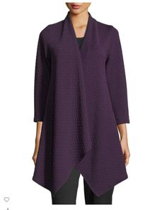 I know we talked about this being a color family that you like. I also like the texture of this garment. Long Jackets, Cute Shoes, Amy, Bell Sleeve Top, Tunic Tops, Leggings, Texture, Color, Ideas