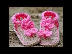 Sandalias bebé crochet/ganchillo. Crochet baby sandals, booties. Galicraft - YouTube