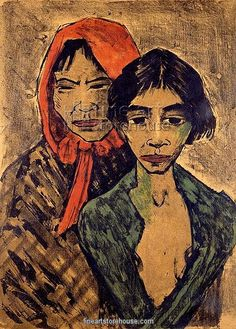 Gypsies lithograph by Otto Mueller (1874-1930)