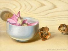 Still life oil painting of a bowl of camellia flowers by Ester Wilson - http://www.esterwilson.com