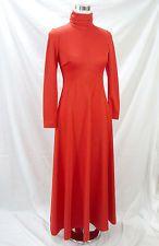 Alden Fashions Inc Chicago Dress M Vintage 1960s Maxi Orange Knit Long Sleeves