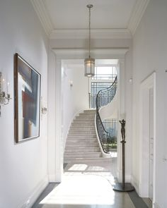 Staircase - Discover home design ideas, furniture, browse photos and plan projects at HG Design Ideas - connecting homeowners with the latest trends in home design & remodeling House Design, House, Interior, Hallway Inspiration, Home, Entry Hall, Stairs, House On A Hill, White Staircase