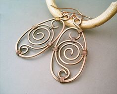 Wire Wrapped Earrings old-looking Copper by GearsFactory on Etsy