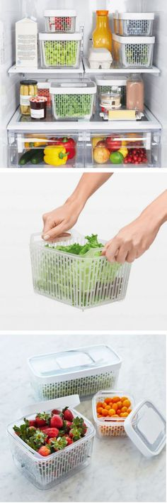 Stop throwing out produce! Our clever greensaver Produce Keepers by OXO will help you waste less and save more. It works three ways to keep produce from spoiling. First, the all-natural, non-toxic activated carbon filters trap and absorb ethylene gas, slowing down spoilage. Inside, an elevated removable basket promotes proper airflow and helps prevent moisture buildup. And finally, the vent on the top helps maintain optimum humidity levels. The removable basket can even be used as a…
