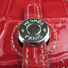 Hermes Dogon Red Crocodile Sliver Hardware Women's Wallets handbag