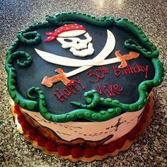 Pirates! #cake #pirate #treasure #skull #crossbones #map #bandana #lagoon…