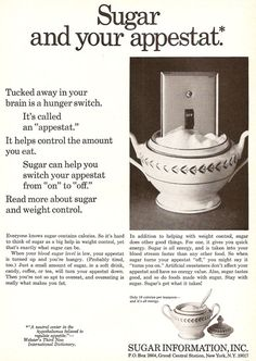 """""""Tucked away in your brain is a hunger swith. It's called an 'appestat'. Sugar Information Inc Help Losing Weight, Reduce Weight, Lose Weight, Vinegar Weight Loss, Fast Weight Loss Tips, Reduce Belly Fat, Weight Control, Good Housekeeping, Vintage Recipes"""