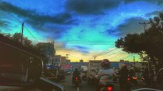 Behind sunset on the street