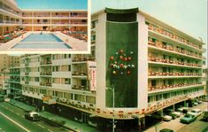 Midtown Motor Inn, Atlantic City, New Jersey Bad Photos, Hotel Motel, Commercial Architecture, Futuristic Design, Googie, Atlantic City, Vintage Postcards, Swimming Pools, Chrome