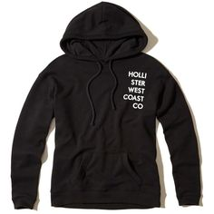 Hollister Oversized Graphic Hoodie ($40) ❤ liked on Polyvore featuring tops, hoodies, black, hooded sweatshirt, graphic hoodie, fleece hoodies, oversized hooded sweatshirt and hollister co hoodies