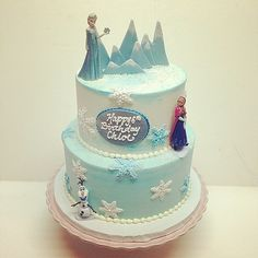 Frozen birthday cake #polkadotscupcakefactory | Flickr - Photo Sharing!