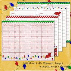 Christmas Santa Filofax Franklin Covey A5 Printable Planner Pages