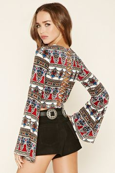 Cutout Back Ornate Top   Forever 21 - 2000152819