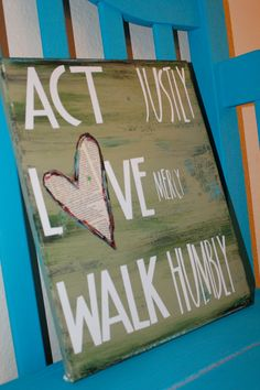 Act Love Walk Micah 68 Canvas 11 X 14 by GREAT GIFT- GROUP PROJECT- Cutipiethis on Etsy