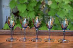 Vintage Purple Gold Retro Cocktail Champagne by Antiquevintagefind Purple Wine Glasses, Vintage Wine Glasses, Gold Stripes, Purple Gold, Champagne, Cocktails, Retro, Tableware, Handmade