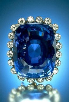 The Logan Sapphire The flawless sapphire is the second largest known one in the world, at a staggering 422.99 carats. The cushion-cut stone is one of the world's largest and most famous sapphires. It is set in a brooch surrounded by 20 round-cut diamonds weighing 16 carats.