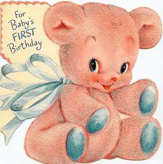 vintage Baby's 1st Birthday card