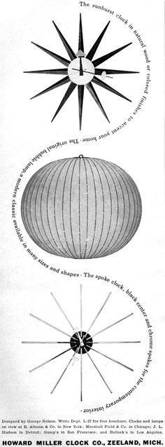 Howard Miller GEORGE NELSON Sunburst SPOKE CLOCK Bubble Lamp 1957 MAGAZINE AD | eBay
