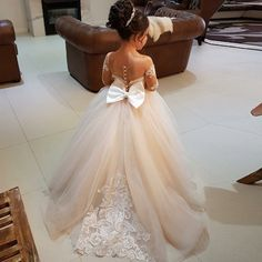 Ball Gown Round Neck Light Champagne Tulle Flower Girl Dress with Appliques
