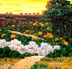"""Gene Brown, """"Till The Cows Come Home"""" - Southwest Gallery: Not Just Southwest Art. This painting is SOLD, but check our website for more of Gene Brown's work! Landscape Art, Landscape Paintings, Landscapes, Southwest Art, List Of Artists, Naive Art, Fine Art Gallery, Artist Painting, American Artists"""
